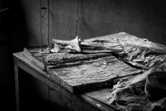 """weathered book and papers on a bench in an abandoned factory"" / Photographer - Jasper Legrand"